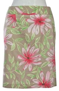 Talbots Womens Beige Floral Skirt Multi-Color