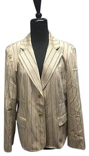 Talbots Talbots Beige Striped Cotton Button Long Sleeved Lined Blazer Sma10350