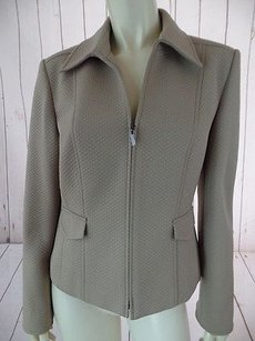Talbots Talbots Blazer Coat Tan Textured Fine Quilted Poly Stretch Zip Front Chic