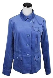 Talbots Talbots Womens Blue Velvet Blazer Cotton Basic Jacket Lined Career