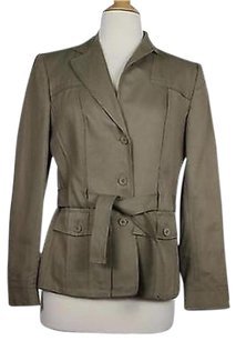Talbots Talbots Womens Green Solid Blazer Long Sleeve Viscose Basic Jacket
