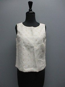 Talbots Sleeveless Floral Embroidered Crew Neck Sma6702 Top Cream