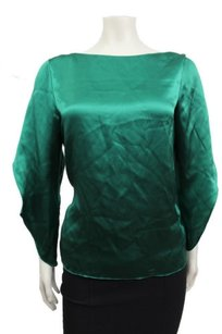 Talbots Solid Satin Silk Crew Petite 4p Top Emerald Green