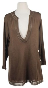 Talbots Womens Petites V Neck Xlp Pxl Cotton Knit Shirt Sweater