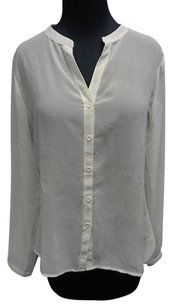 Tart Polyester Button Down Sheer W Lace Accent Sma10100 Top Ivory