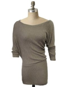 Tart Draped Side Long Sleeves Sparkle Tunic Sweater