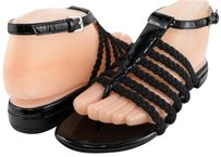 Taryn Rose Italia Patent Womens Designer Strappy Open Toe Thong 7.5 Black Sandals