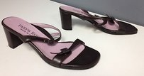 Taryn Rose Leather Silver Buckle Accreted Slip On B3355 Brown Sandals