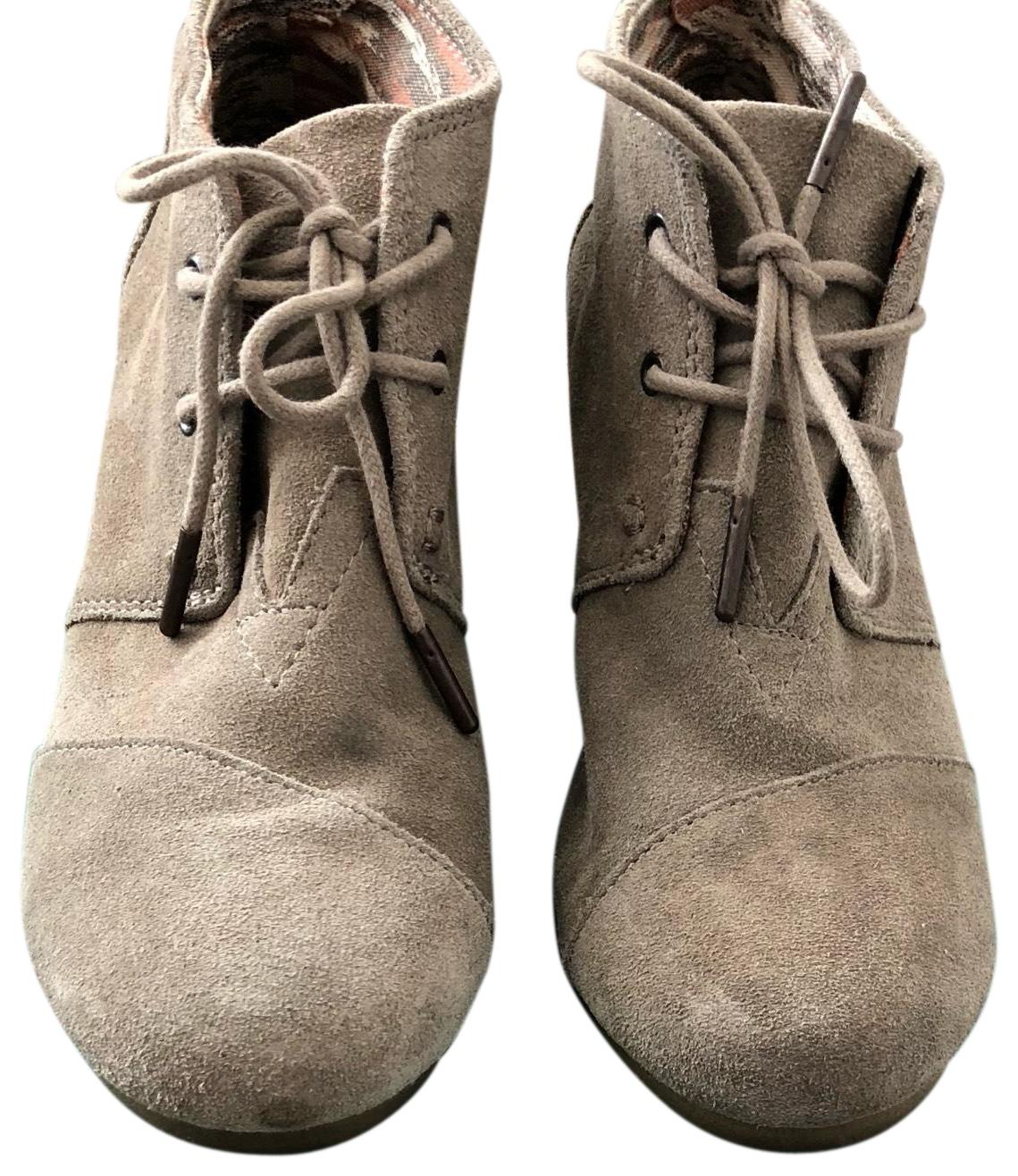 Taupe Wedge Boots/Booties Size US 7.5 Regular (M, B)