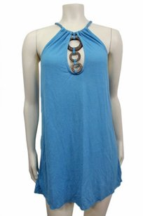 Taylor People Blue Braided Straps Wooden Neck Detail Dress