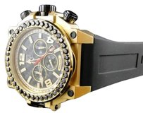 Techno Com by KC Mens Techno Com Kc Joe Rodeo Jojo Genuine Weg Gold Black Diamond Watch Ct