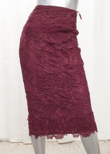 Ted Baker Womens Langley Burgundy Lace Straight Pencil Sheath 0xs Skirt Red