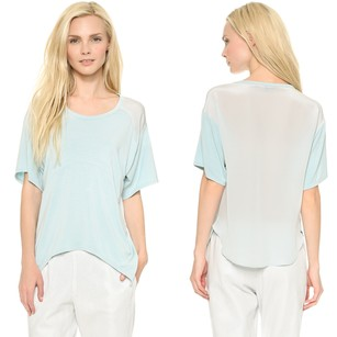 Tess Giberson Casual Soft Sheer Casual Top Sky Blue