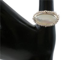 Thailand Heavy Sz 7 Mother of Pearl Sterling Silver Statement Ring
