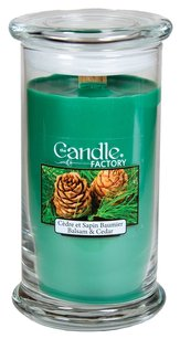 The Candle Factory The Candle Factory Large 15-Ounce Jar Crackling Candle, Balsam and Cedar