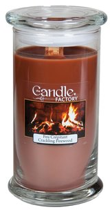 The Candle Factory The Candle Factory Large 15-ounce Jar Crackling Candle, Crackling Firewood