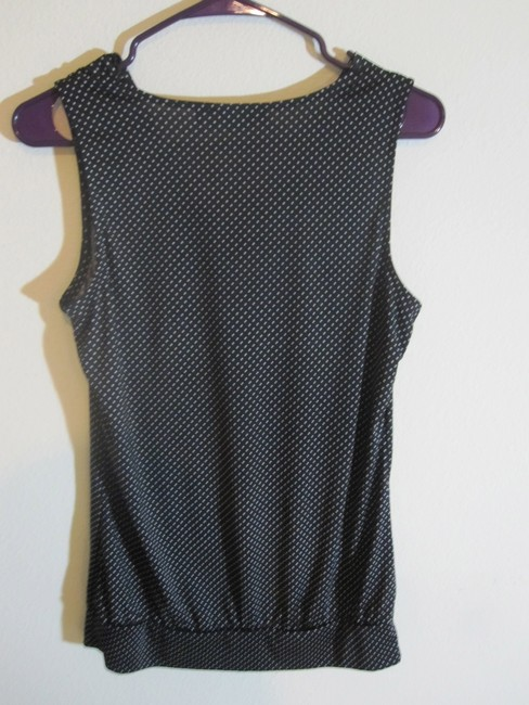 The Limited Sleeveless Draped Cowl Neck Top Black, White, Polka Dot