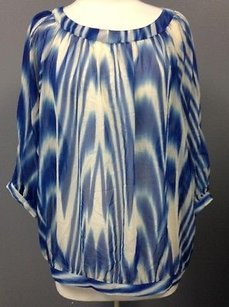 The Limited Blue White Stripe Top Multi-Color