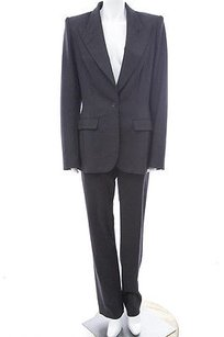 The Row The Row Black Stretch Wool Classic Suit Jacket High Rise Trouser Pant Set