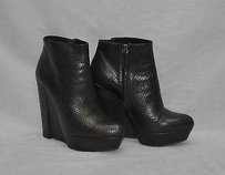 Theory B2 Snake Embossed Leather Hi Wedge Ankle Black Boots