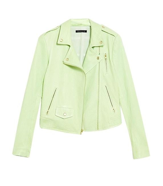 Theory Green Textured Leather Moto Motorcycle Jacket