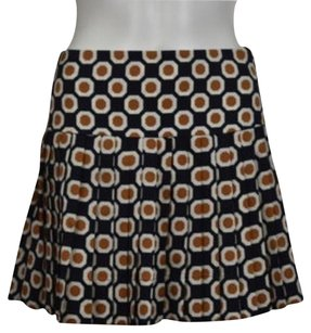 Theory Womens Printed Pleated 00 Silk Above Knee Casual Skirt Navy