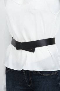 Theory Theory Black Leather Adjustable Waist Notch Snap Belt Silver Metal Hardware Sm