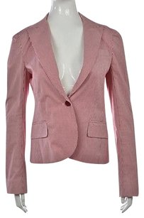 Theory Theory Womens Red Striped Blazer Cotton Long Sleeve Career Jacket