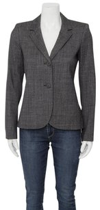 Theory Theory Eldima Charcoal Grey Tweedy Wool Button Notched Collar Blazer Jacket 2s