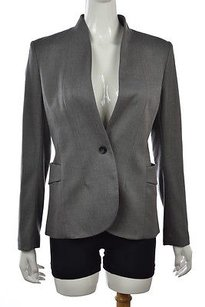 Theory Theory Womens Gray Blazer Wtw Textured Wool Blend Career Jacket