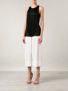Theory Montein Fringe Trim Sleeveless Silk Barneys Tank Top Black