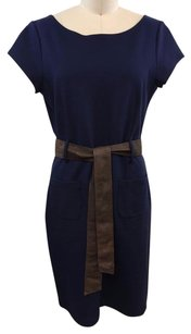 Theory Back Wrap Stretch Brown Leather Belted Dress