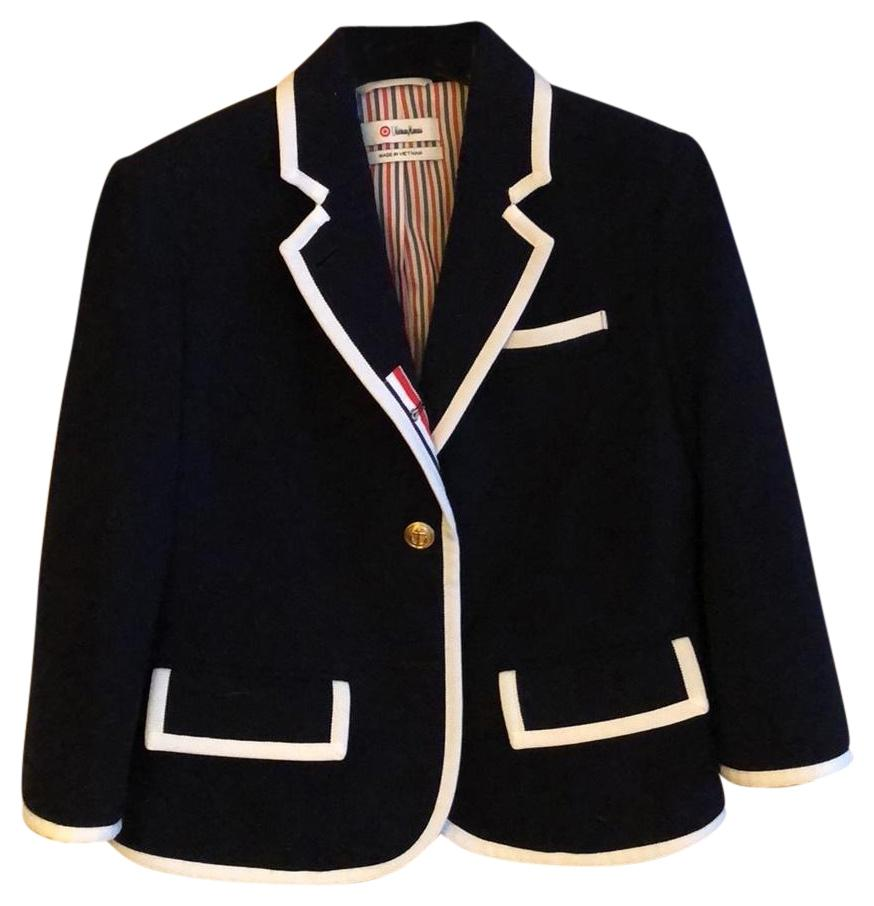 Thom Browne Navy Blue Blazer ...