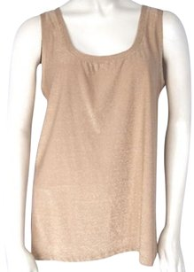 Three Dots Gold Metallic Top Beige