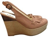 Tibi Brown/ Beige Wedges