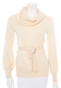 Tibi Cowl Neck Waist Tie Turtleneck Ribbed Sweater