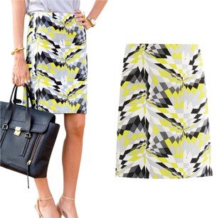 Tibi Geometric Contrast Pattern Pencil Edgy Skirt Yellow, White, Black, Grey