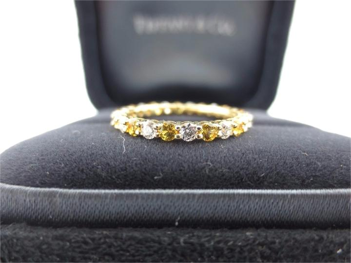 Tiffany & Co Co 18k Yellow Gold Sapphire Diamond d Prong