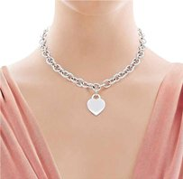 Tiffany & Co. Heavy Tiffany & Co Heart Tag Necklace Sterling Silver 16
