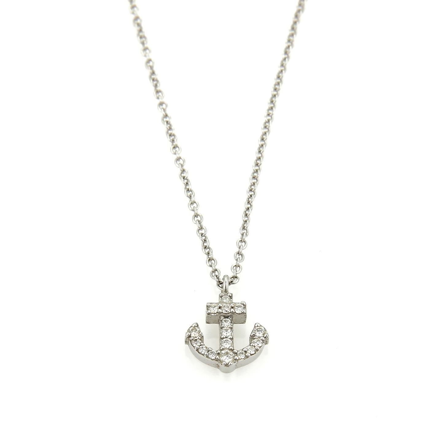 Tiffany Co Metro Diamond 18k White Gold Anchor Pendant Necklace