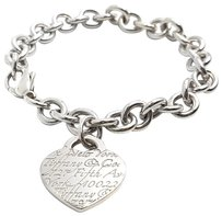 Tiffany & Co. New! 5th Ave New York Notes Heart Charm Sterling Silver Bracelet 7.75""