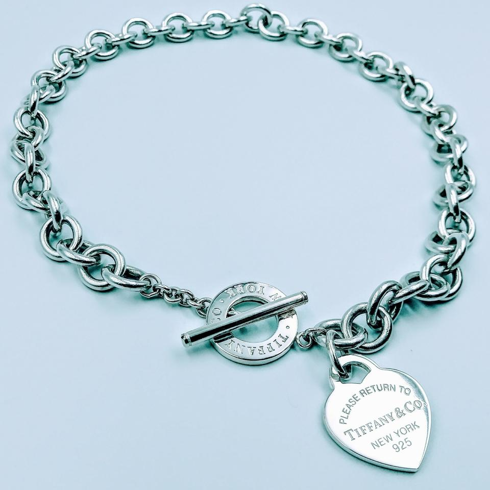 b640b38cb Tiffany & Co. NEW STYLE Please Return Heart Charm Toggle Necklace Sterling  Silver Image 0 ...