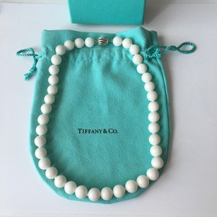Tiffany & Co. RARE Tiffany Co 10mm Bead Ball White Dolomite Gemstone Silver Round Clasp 16