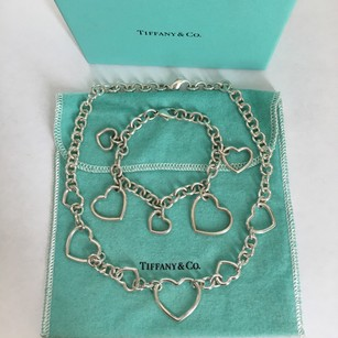 Tiffany & Co. RARE Tiffany Silver 6 Multi Heart Necklace & 5 Dangle Heart Bracelet Set w/ BOX POUCH!