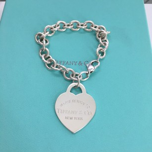 Tiffany & Co. Return to Tiffany Silver EXTRA LARGE HEART Charm Link Bracelet POUCH!