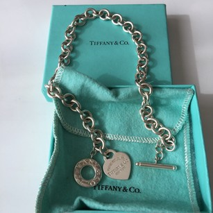 Tiffany & Co. Return To Tiffany Silver Toggle Heart Tag Link Necklace FULL PACKAGING!!