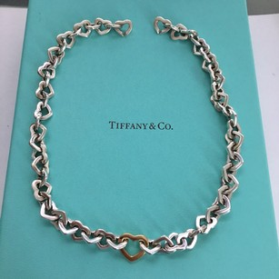 Tiffany & Co. Silver 18k Yellow Gold Continuous Open Link Heart Clasp Necklace POUCH