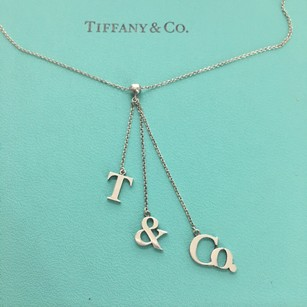 Tiffany & Co. Silver T & Co Logo Initial Drop Dangle Letter 16