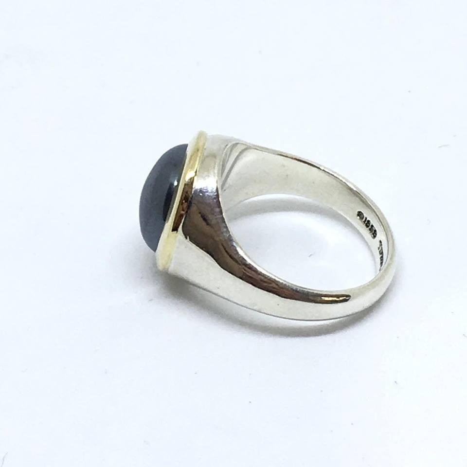 Tiffany Co Sterling Silver18k Yellow Gold Hematite And Ring