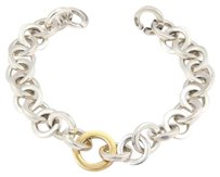 Tiffany & Co. Tiffany Co Sterling Silver 18k Yellow Gold Circular Link Bracelet